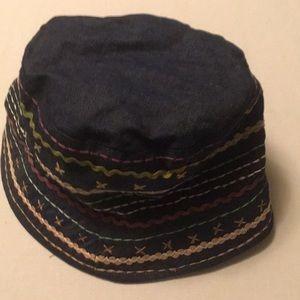 Cejon denim blue embellished cloche style hat